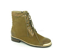 Женские ботинки замшевые коричневые