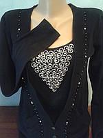Пуловер  женский из кашемира черного  цвета со вставкой