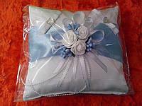 """Свадебная подушка под кольца """"Бело-голубой квадрат"""" № 4-голуб"""