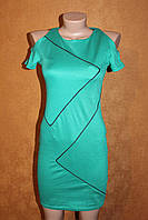 Зеленое мини платье с рукавчиком, р. 42