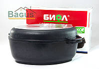Гусятница 4 л с антипригарным покрытием, крышкой сковородкой гриль, утолщенным дном Биол (Г401П)