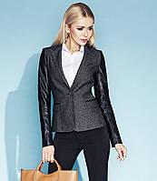 Стильный женский жакет серого цвета с кожаными рукавами Nadia Zaps, коллекция осень-зима 2014-2015