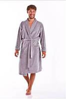 Халат мужской велюровый серый домашний теплый Dobra Nocka 4061