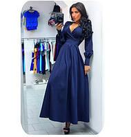 Шикарное платье с широкими манжетами и лифом с запахом., фото 1
