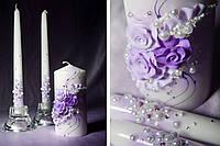 Набор свадебных свечей в фиолетовом