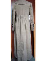 Пальто женское Бежевое, макси-длина