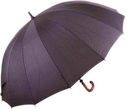 Механический мужской зонт-трость с большим куполом 16 спиц. ZEST Z41560 чёрный