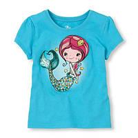 Детские футболки с принтом для девочек русалка голуб.