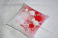 Подушечка для колец бело-красная