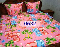 Постельное в детскую кроватку, манеж Слоники роз