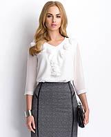 Женская блуза с жабо с рукавом три четверти. Модель P64 Sunwear, коллекция осень-зима 2015.