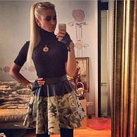 Модная комбинированная джинсовая юбка гн 070