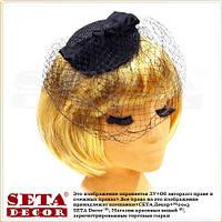 Чёрная круглая шляпка с вуалью на заколке, вуалетка.
