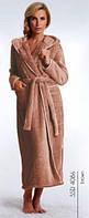 Халат женский теплый домашний зимний банный с капюшоном длинный Dobra Nocka 4086