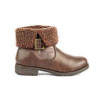 Женские коричневые утепленные ботинки с мехом