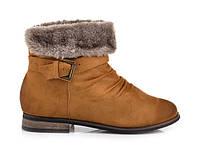Женские замшевые утепленные ботинки с мехом