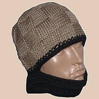 Мужская вязаная шапка-шлем объемной вязки верблюжьего цвета