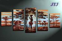 """Модульная картина из 5 элементов """"Африканская жизнь"""""""