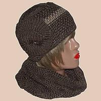 Вязаная женская шапка и шарф ручной вязки коричневого цвета