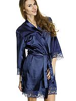 Женский шелковый халат синего цвета