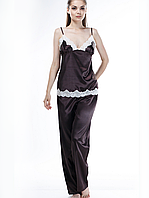 Красивая пижама из шелка со штанами