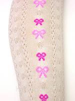 Белые ажурные колготки с бантами для девочек | Польша 116-146, 116, 122, 128, 134, 140, 146