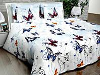 Бязь Люкс Белый с бабочками UXT-399-2 blue