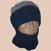 Мужская вязаная шапка-шлем в этническом стиле
