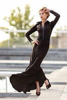 Эффектное длинное теплое платье с длинным рукавом из мягкого и приятного трикотажа.