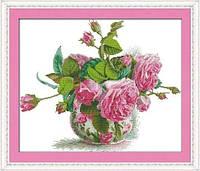 Розы в вазе Набор для вышивки крестом с печатью на ткани 14ст
