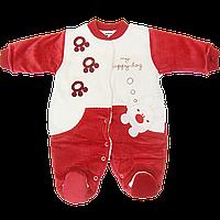 Детский комбинезон на кнопках (человечек), велюр на подкладке из махры, Турция, р. 56, 62, 68