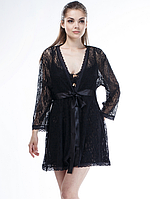Женский кружевной халат черного цвета