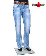 Джинсы мужские молодежные с кожаным ремнем и вставками.