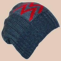 Вязаная мужская шапка-носок на высокой резинке джинсового цвета с аппликацией