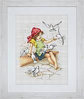"""Набор для вышивания """"Девочка с голубями"""""""