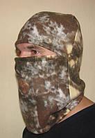 Флисовая теплая шапка-маска камуфлированная