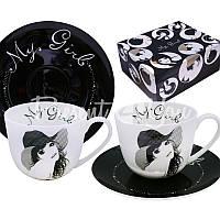 Чайный набор фарфор «Любимая» : 2 чашки на 300 мл. с блюдцами
