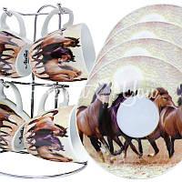 Набор чашек для кофе «Табун лошадей»: 4 чашки и 4 блюдца на подставке, 100 мл.