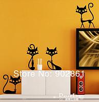 """Наклейка на стену, виниловые наклейки, украшения стены наклейки """"Черные Коты до 17СМ"""""""