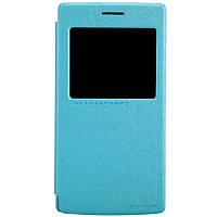 Кожаный чехол книжка Nillkin Sparkle для OnePlus One бирюзовый