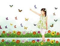 "Наклейка на стену, наклейка цветок, наклейки на шкаф ""цветы в траве"" 25*121см (лист 35*50см)"