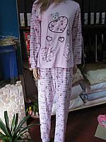 Теплая нежно-розовая пижама с длинным рукавом
