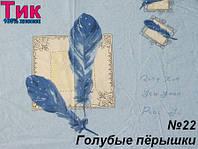 Ткань Тик наперник - Голубые перышки (R)