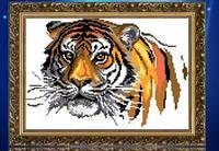 """Алмазная вышивка """"Тигр на белом фоне""""(набор для рисование камнями)"""