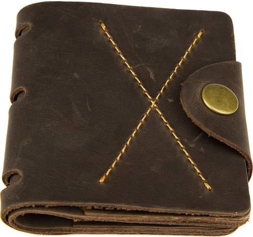 Коричневый мужской кошелек-портмоне на кнопке Black Brier П-5-33