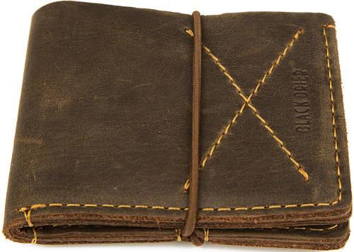 Стильный кожаный мужской кошелек на резинке Black Brier П-8-33 коричневый