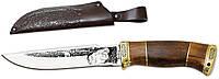 """Нож охотничий """"GW""""-ВОЛК (с рисунком)(нескладной нож для охоты) MHR /17-72"""