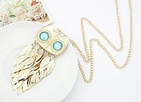 """Модная подвеска на цепочке Золотая сова, украшенная """"листьями"""", ожерелье, ювелирное изделие, подарок"""