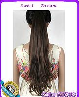 Объемный волнистый хвост на ленте, шиньон, наращивание волос, длина - 55 см, вес - 90 г, цвет №2\30В