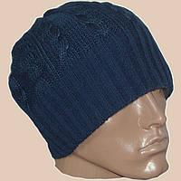 Вязаная мужская шапка-носок темно-синего цвета